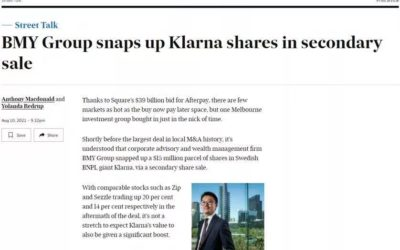 BMY Group snaps up Klarna shares in secondary sale